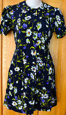 VINTAGE! Womens BETSEY JOHNSON Dress 90's Petite XS FLORAL Mini PETER PAN COLLAR