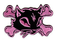 PINK KITTY & CROSSED BONES EMBROIDERED IRON ON PATCH cute girly hot topic punk