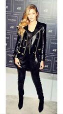 H&M Balmain Kim K Black Leather Biker Jacket With Gold Buttons UK Size 10