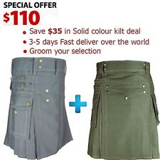 Unisex Adult 100%  Cotton Green  & Gray Utility kilts Low Prices High Quality