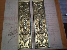 Reclaimed Solid Brass Door Finger Plates Antique finish Large Rectangle 2 plates