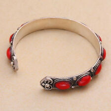 Unisex Gift Vintage Red Coral Bead Cuff howlite Bracelet Bangle Tibet Silver