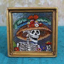 Day of the Dead Catrina églomisé Hand Painted on Glass framed Peru Folk Art