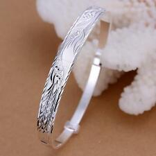 925 Sterling Silver Dragon Phoenix Bangles Bracelet Adjustable Opening Jewelry