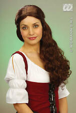 Ladies Long Brown Wig Medieval Wench Maid Fancy Dress
