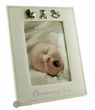 Christening Gift Photo Frame With Silver Icons - New In Gift Box CG156