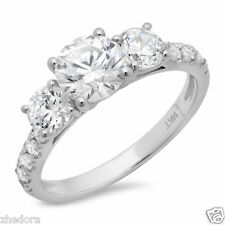 2.0 CT Three Stone Round Accent Engagement Wedding Ring 14K White Gold Bridal