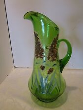 "Antique green Glass Victorian Pitcher Hand painted Enamel Floral 13""H. # 912 Vtg"