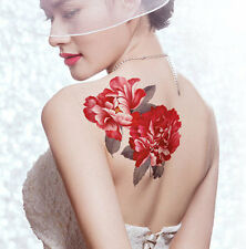 Big red peony flower Large Waterproof temporary tattoos sticker sexy women(3 pcs
