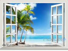 3 Palm Tree White Beach 3D Window View Removable Wall Sticker Decal Home decor