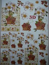 Christmas Card Making 3D Paper Tole White Flower Basket