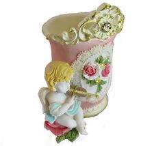 Rose motif floral maquillage porte-balai avec angelot statue cadeaux mère anniversaire