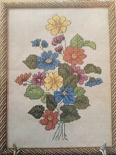 Autumn Bouquet counted cross stitch magazine pattern, fabric & floss lot