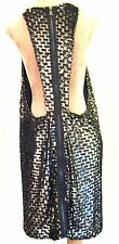 Topshop Unique Sequin Black crochet backless Racer Back party Dress £150 14