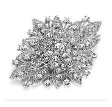 Bridal Sash Rhinestone Brooch Pin Silver Crystal Glass Accessory DIY (GB80)
