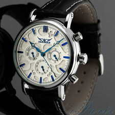 Jaragar luxury Men mechanical automatic white 3D dial diamond Blue hands watch