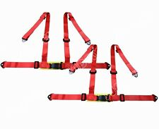 Pair 3 4 Point 4PT H-Style Car Safety Harness Racing Seat Belt Stitches Red