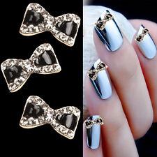 10pcs 3D Metal Rhinestone Bow Tie Nail Art Glitters Decoration Manicure Tips DIY