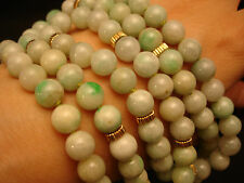 """VINTAGE CHINES JADE 8MM BEADS NECKLACE WITH 14K YELLOW GOLD ROUNDEL  33"""" LENGTH"""