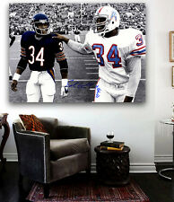 Walter Payton and Earl Campbell  CANVAS Print  36 x 24 Bears Oilers