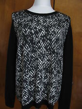 New w/tags Nordstrom Collection Women's 100% Cashmere Black/Ivory Sweater XLarge