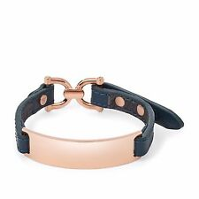 NEW-FOSSIL ROSE GOLD NAVY BLUE LEATHER D-LINK PLAQUE BRACELET JF01580791+POUCH