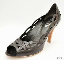 New $595 Tod's Italy Leather Cutouts Trim Open Toe Pump Heel Shoe ~Brown *36/6