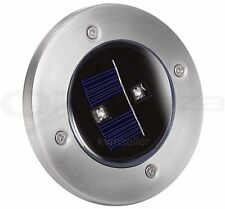 Solar Powered Ground Marker Bright 2 LED Stainless Steel Pathway Light