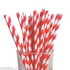Retro Vintage Striped Paper Drinking Straws - 25pk - Red and White Stripe straw