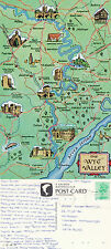1980's WYE VALLEY MAP HEREFORD MONMOUTH & GLOUCESTERSHIRE COLOUR POSTCARD
