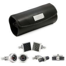 AVIATOR MENS SET OF 3 STAINLESS STEEL CUFFLINKS IN A LEATHER CASE NEW & BOXED