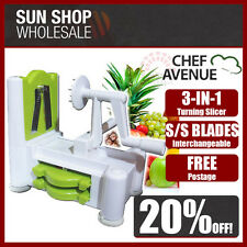 100% Genuine! CHEF AVENUE 3 in 1 Turning Slicer with 3 S/S Blades Green!