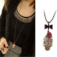 Great Rose Bow Skull Necklace Long Sweater Chain Metal Jewelry Pendant for Gifts