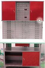 Werkstatt + Lochwand Haken Set Werkzeug Schrank Werkbank Werkzeugbank rot Neu