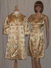 Vintage 1950s Asian Wiggle Dress & Jacket Gold Silk Satin Cheongsam Pinup Small