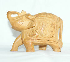 Indian Handicraft Elephant Statue Wood Hand Carved Painted Animal Figurine Gifts
