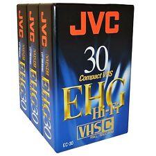 3 JVC EHG HiFi 30 Minute VHS-C VHS-C Compact Camcorder Video Tape Cassette EC-30