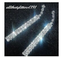 Stunning 2 Strand Drop Crystal / Diamante Earrings 6cm Drop Silver Plated