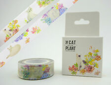 Beautiful Cat & succulent plant Chinese 10m washi tape in cute box! Cute kitties