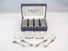 SET 4 ENGLISH PEPPER SHAKERS COBALT GLASS INSERT 4 CRYSTAL SALT CELLARS SPOONS