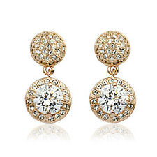 18K Rose Gold Plated Large Swarovski Dangle Crystals Earring E618