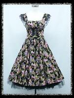 dress190 BLACK FLORAL 50s CAP SLEEVE CORSET SWING ROCKABILLY PROM PARTY DRESS