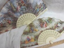 Vtg Lot Ladies Fan Off White Ivory Plastic Vane Spain Courting Couple Lord Lady