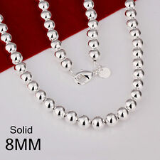 """Stunning 925 Sterling Silver Filled 8MM Solid Ball Beads Charm Necklace 20"""" B08"""
