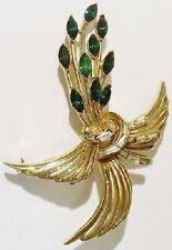 broche bijou vintage motif floral navette verte baguette cristal diamant * 5131