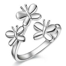 Ladies 925 Sterling Silver Three Butterfly Adjustable Wrap Ring Finger Thumb
