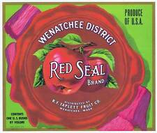 red seal, original washington apple crate label, wenatchee, R F taplett fruit co