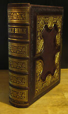 HOLY BIBLE (1881) Gigantic Tooled Leather, Brass Clasp, Illustrated Ancient Maps