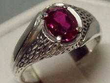 mens 1.55ct red Ruby 925 sterling silver ring size 12.5 USA made