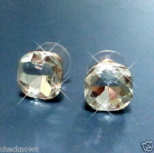 18K Rose Gold Plated 12mm Clear Square Stud Earrings Use SWAROVSKI CRYSTAL Lady